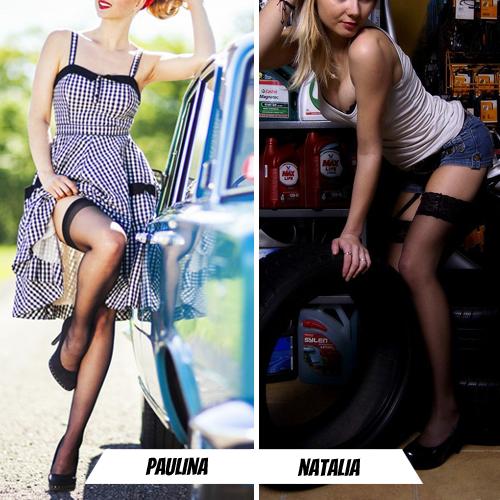 Pończochy zmotoryzowane: Paulina VS Natalia